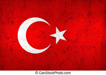 Grunge Dirty and Weathered Turkish Flag, Old Metal Textured