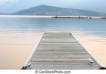 Boat dock on a mountain lake