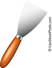 Metal spatula with wooden handle isolated on a white...