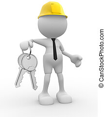Keys - 3d people - man, person with keys in hand. Builder...