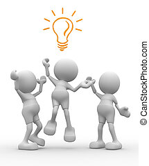Light bulb - 3d people - men, person is fighting for a light...
