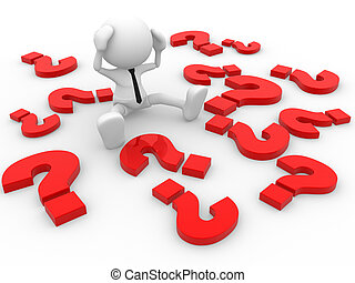 Question marks - 3d people - man, person and question marks....