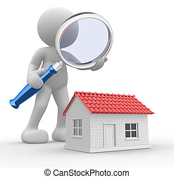 Magnifying glass - 3d people - man, person with a magnifying...