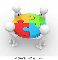 Puzzle - 3d people - men, person and pieces of a puzzle