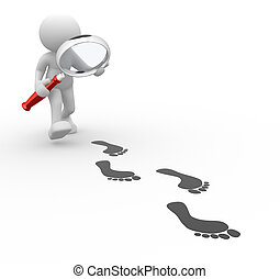 Magnifier - 3d people - man, person with magnifier and...