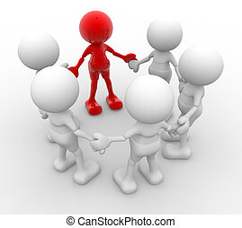 Team - 3d people - men, person in circle. Leadership and...