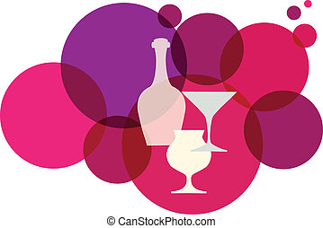 wine bottle with glasses on retro background, illustration