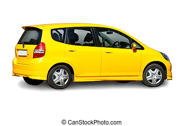 yellow car isolated - modern high-speed yellow car isolated...