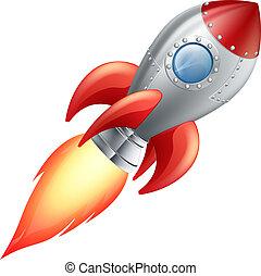 caricatura, cohete, espacio, barco