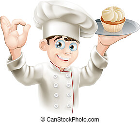 Baker with cupcake - Illustration of baker holding a tray...
