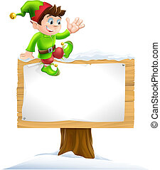 Elf on Snowy Sign - A cute Christmas elf on sitting on a...