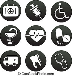 collection of medical themed icons , black white