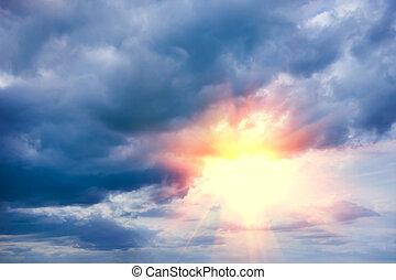 bello, blu, cielo, nuvoloso, sole
