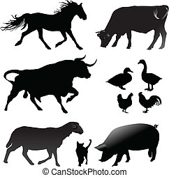 Farm animals silhouettes vector collection