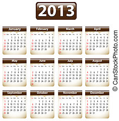 Calendar for 2013 - Brown calendar for 2013 year with torn...