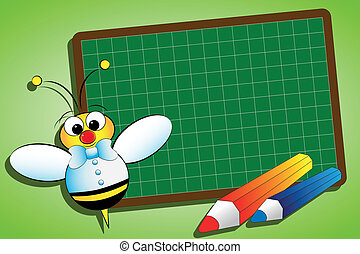 Back to school concept with blackboard and bee