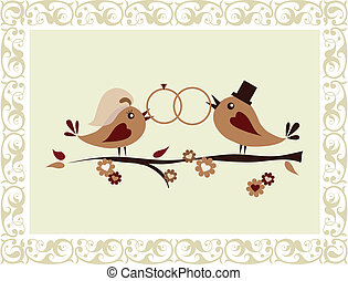 Wedding invitation with birds holding two rings