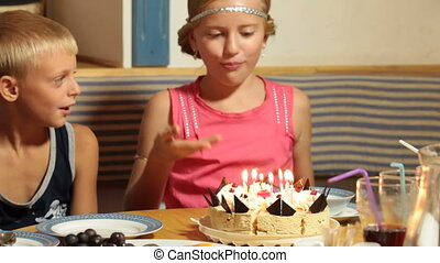 Blowing Candles on Birthday Cake - Little Girl Blowing...