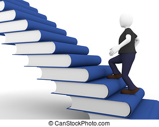 books stair - a man acquires knowledge over a ladder made of...