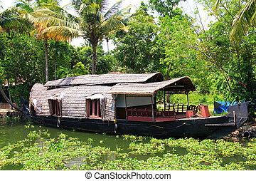 Houseboat in Kerala backwaters, Cochin, India