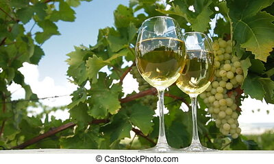 Blue Sky in White Wine Glasses - Two glasses of white wine...
