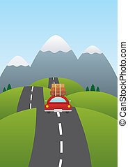 Car on the road - Vector illustration of a car on a road...