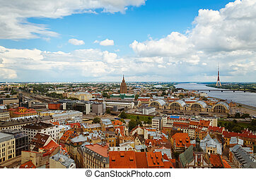 Riga, Latvia - The capital of Latvia, Riga, with a birds-eye...