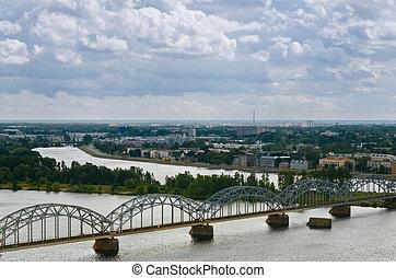 Riga, Latvia - The capital of Latvia, Riga, with a birds-eye...