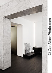 Modern minimalism style corridor interior in black and white...