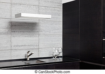 Part of modern kitchen interior with sink