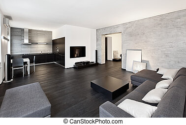 Modern minimalism style drawing-room interior in black and...
