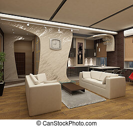3d renderingModern interior of a drawing room in light tones...