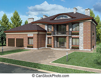 3d renderingExclusive two floor country house on the nature...