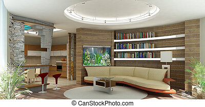 3d rendering. Modern interior of a drawing room of a room...