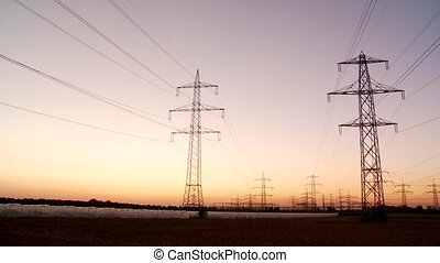 Power Poles With Sunset