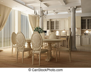 3d rendering. Interior of a table room in in classical style...