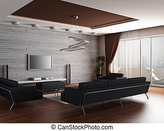 3d rendering. Interior of a modern drawing room of a room...