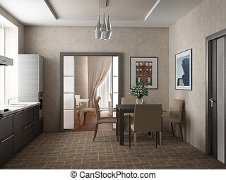 3d rendering. Modern kitchen in dark tones with a kind on a table room