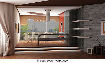 3d rendering Modern interior of kitchen and table room with...
