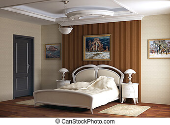 3d rendering Bedroom with the big double bed with white bed...