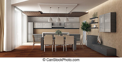 3d rendering Kind on kitchen and a spacious dining room with...