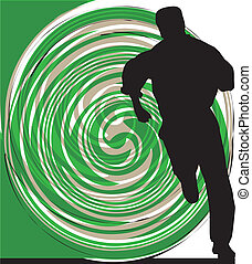 Businessman running. Vector illustr