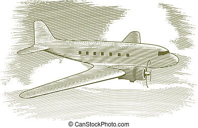 Woodcut Vintage Airplane - Woodcut style illustration of a...