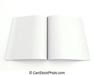 Blank opened advertising folder isolated on white background...