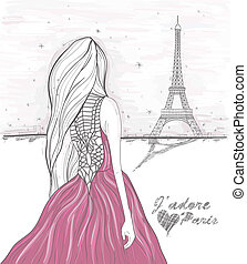 Girl looks at eiffel tower Hand Drawn paris postcard