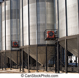 Close-up Grain Elevator - Close-up vied of grain bins...