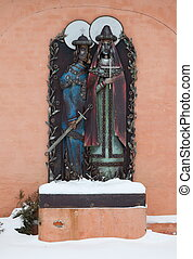 Sculpture near the entrance to John the Baptist Monastery in...