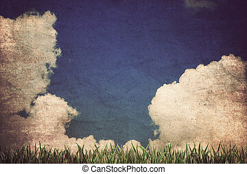 grass and cloudy sky ,Vintage style