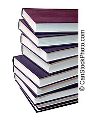 stack of purple books on white background
