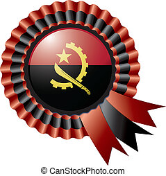 Angola rosette flag - Angola detailed silk rosette flag,...